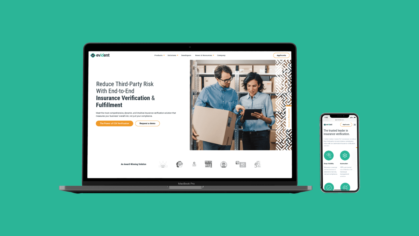 desktop and iphone both showing Evident's new b2b saas website